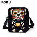 FORUDESIGNS Mini Messenger Bag para la Mujer, Ladies Skull Print Cross body Bags Animal Bolsas de Hombro Femeninos Ladies Cross Body bolsa