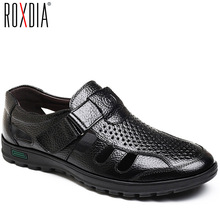 Buy ROXDIA Plus Size 39-48 Men Sandals Genuine Leather New Fashion Breathable Summer Beach Shoes Men Slippers Causal Shoes RXM112 directly from merchant!