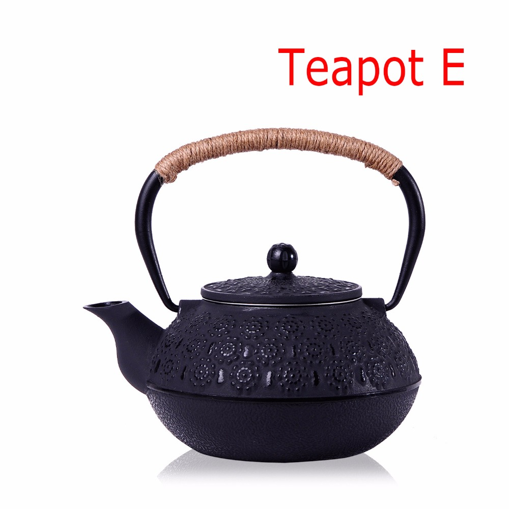 New 7 Chioces Cast Iron Teapot Set Japanese Tea Pot Tetsubin Kettle Enamel 900ml Kung Fu Infusers Metal Net Filter Cooking Tools 16