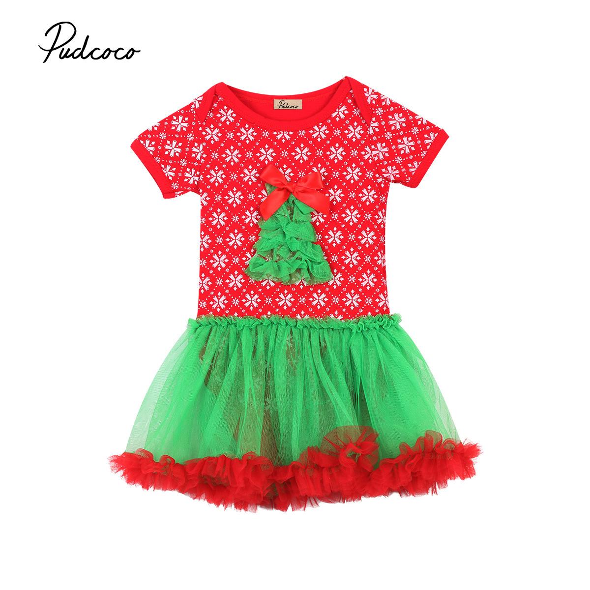 Bambini Natale Vestito Di Tulle Della Ragazza Del Bambino Chirstmas Vestito Di Un Pezzo Della Tuta Playsuit Outfit 0-24 M Vestiti Completa In Specifiche