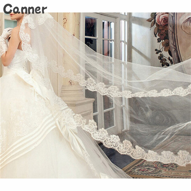 Canner Women Wedding Veil Long 3M Lace Edge Bridal Cathedral Bridal Veil 1 Layer Wedding Accessories A3