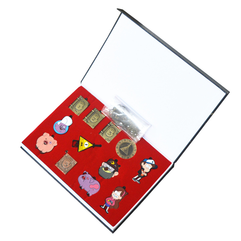 Set of 12 Gravity Falls Bill Cipher Journal Memo Waddles Mabel Pines Dipper Pines Gideon Gleeful Necklace Keychain + Box