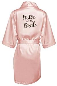 Image 4 - new bride bridesmaid robe with white black letters mother sister of the bride wedding gift bathrobe kimono satin robes