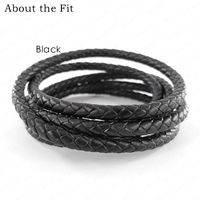 About the Fit 6mm 15Meters Full Dyeing Braided Split Leather Total Coloring Round Leather Cords Jewellery Accessories Woven Rope