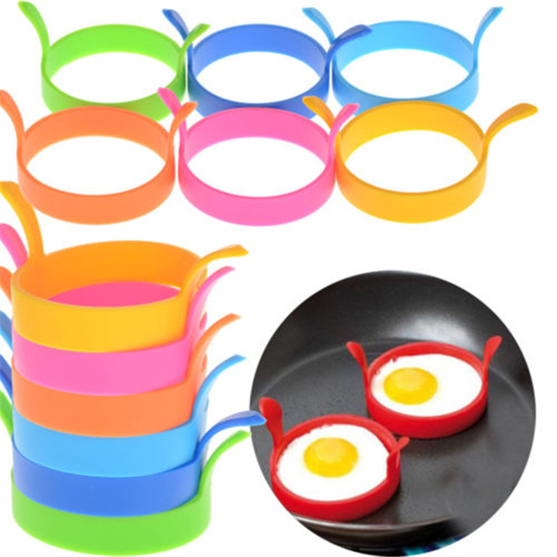 4pcs/pack Creative Round Shape Silicone Omelette Mould Shape For Eggs Frying Pancake Cooking Mould Breakfast Essential Gadget Kitchen,dining & Bar