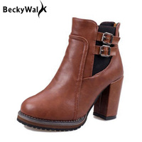 Hot Sale Good Quality Ankle Boots Women Belt Buckle High Heels Women Boots Autumn Winter Fashion Shoes Woman Botas Mujer WSH2206