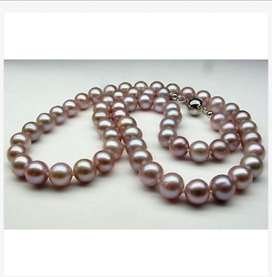 charming 10-11mm round AAA south sea lavender pearl necklace 18inch цена