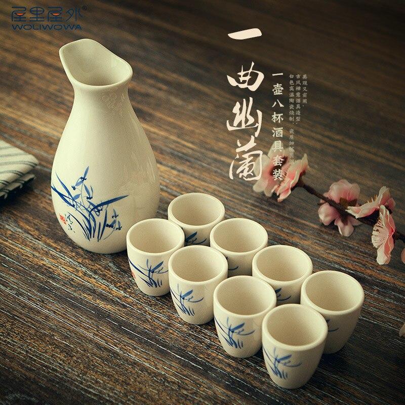 Chinese style antique liquor set creative ceramics domestic liquor wine pot yellow wine wine dispenser cup gift box wood tray
