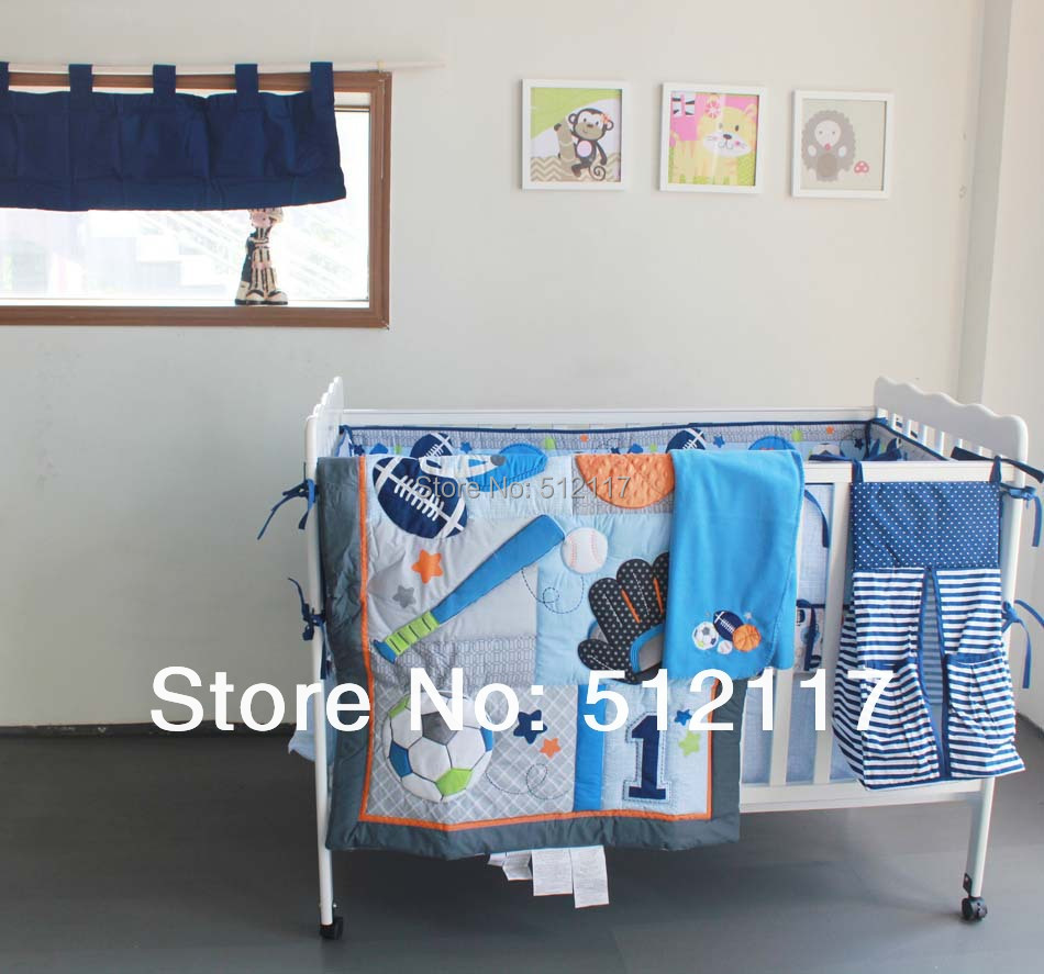 Baby bed quilt size - New 7pcs Embroidered Base Ball Sports Boy Baby Cot Crib Bedding Set 5 Items Includes Quilt