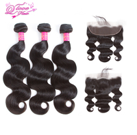 Queen Love Hair Malaysia 13 4 Frontal Closure With Human Hair Bundles Body Wave Lace Frontal