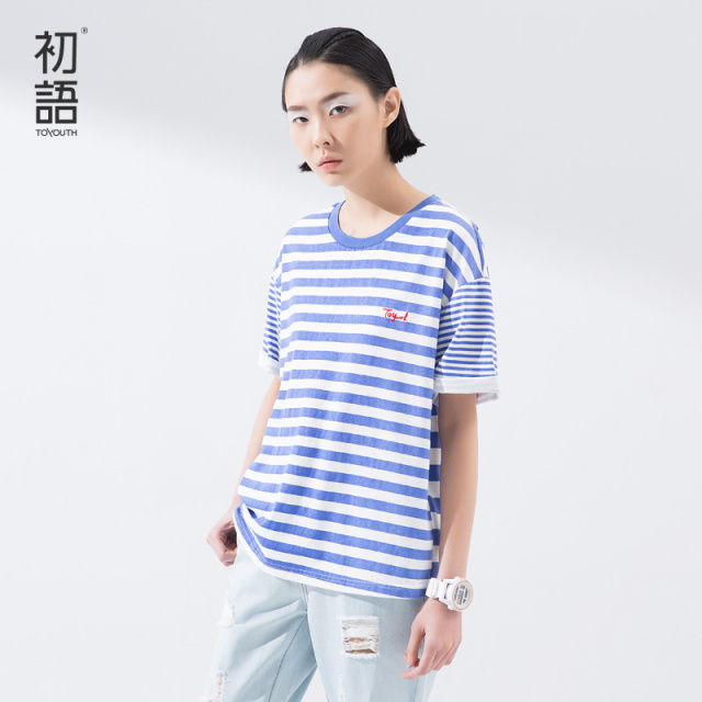 Toyouth 2017 New Arrival Spring Summer T-Shirts Short Striped O-Neck Causal Lady Fashion Print Letter Women Cotton Loose