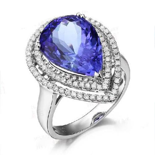 Anillos Qi Xuan_AAA bleu pierre Rings_Fashion Rings_S925 solide argent bleu pierre poire en forme de rings_fabricant directement ventes