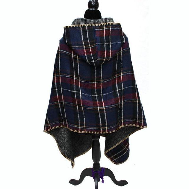 2886ed5b67b6 Chapeau Chaud Femmes Manteau Cachemire Écharpe Plaid Poncho Cape Wrap Châle  Couverture D hiver À