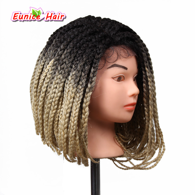 5 Colors Available Beauty 14-16inch Box Braid Bob Wig with Baby Hair Braided Synthetic Lace Front Wigs for Black Women