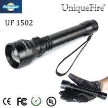 Uniquefire Zoomable UF 1502 XM L T6 LED Flashlight 5 Modes Titanium Black Torch Waterproof LanternFor