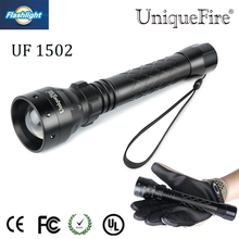 Uniquefire Zoomable UF-1502 XM-L T6 LED Flashlight 5 Modes Titanium Black Torch Waterproof LanternFor Outdoor Camping
