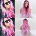 Pink Purple Wig Synthetic Lace Front Wig Heat Resistant Free Shipping Purple Ombre Lace Wig180% Density Heat Resistant Synthetic