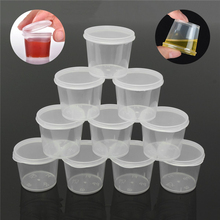 30 قطعة/المجموعة 25 مللي المتاح البلاستيك الوجبات الجاهزة كوب حفظ الصلصة حاويات عبوة طعام مع يتوقف الأغطية الصباغ الطلاء مربع لوحة قابلة لإعادة الاستخدام