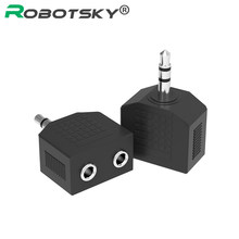 Robotsky 3.5mm Audio Stereo Jack 1 Male to 2 Female Headphone Audio Splitter Adapter for MP3 Headset Car Phone Speaker Tablet(China)