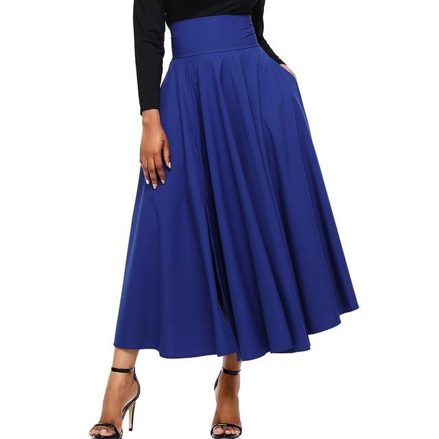 2019 New Fashion Women Party Skirs Retro High Waist Pleated Belted Maxi Skirt  Long Skirt Saias Femininas Blue Red Black Pink