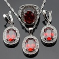 Red Created Garnet White Cubic Zirconia Silver Color Jewelry Sets For Women  Drop Earrings Ring Pendant Necklace Free Gift Box
