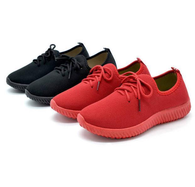 Zapatos de tela para mujer, zapatillas deportivas informales planas, antideslizantes, cómodos, de encaje, individuales