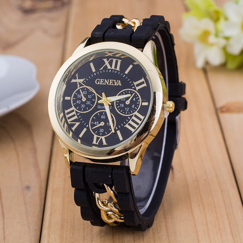2017 New Famous Brand Gold Alloy Chain Geneva Casual Quartz Watch Women Silicone Watches Relogio Feminino Wristwatches Hot Sale