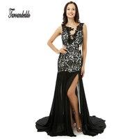 Muescas Escote Opacidad Recorte Lateral Negro Sirena vestidos de Baile Vestido de Espalda Abierta Raja Del Frente Vestido de Noche vestidos de graduacion