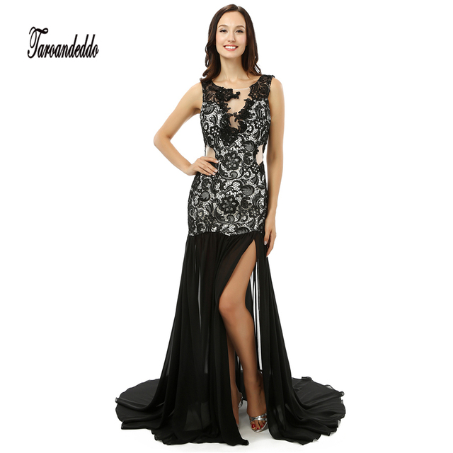 Notched Neckline See Through Cutout Side Black Mermaid Prom Dress ...