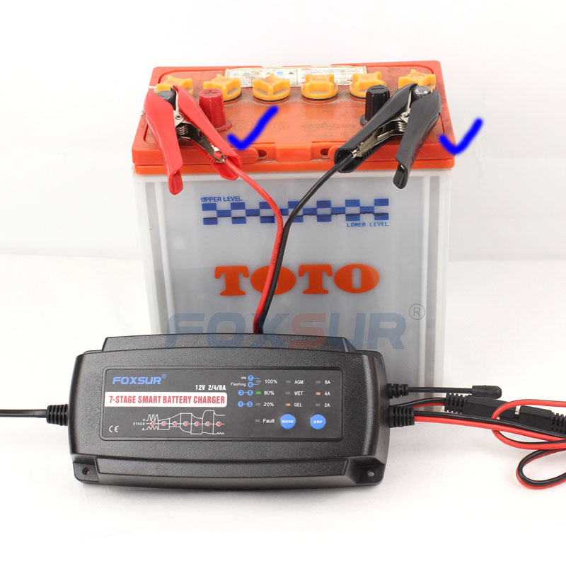 12V 7-stage smart Motorcycle & Car Battery Charger, 2A 4A 8A, Lead Acid Battery Charger,Battery type & Charge current selectable ...