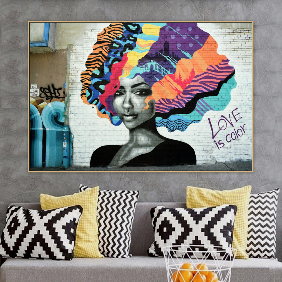 Abstract Hair Girl love is color Graffiti Street Art Banksy Canvas Painting Poster Print Wall Picture Living Room Home Decor