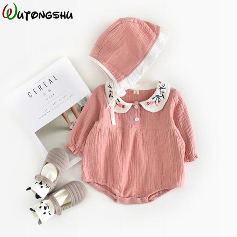 Korea & Japan Baby Girl   Rompers   Embroidered Conjoined Newborn Clothes Sets Baby Girls One-piece Jumpsuits Long Sleeve Outfits