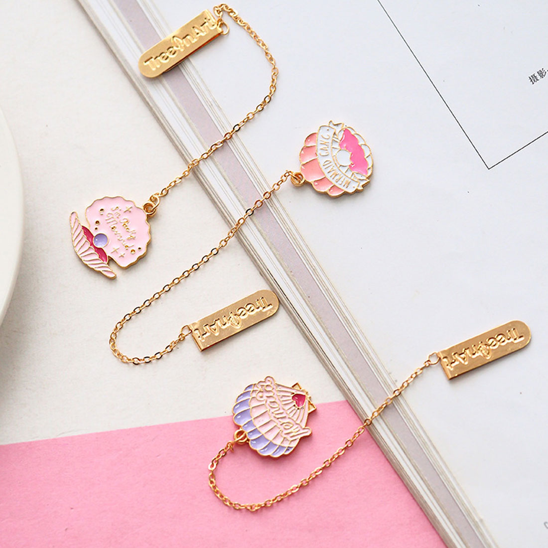 Lovely Shell Style Bookmark Kawaii Cactus Gold Foil Metal Pendants Book Mark For Girls Gift School Supplies