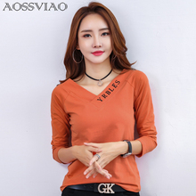 AOSSVIAO Vogue Tshirt Woman Long Sleeve Letter T Shirt