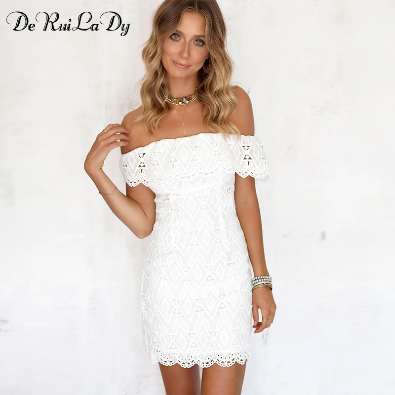DeRuiLaDy Sexy Women Mini Dress Off Shoulder Sexy Lace Embroidery Bodycon  Dresses Summer Beach Party White Casual Dress vestido