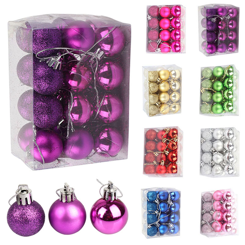 24pcs Christmas Tree Ball Decorations for DIY Xmas Party Wedding 3CM Ball Baubles Hanging Ornament for Home Christmas Decoration
