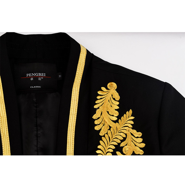Spring autumn brand clothing slim fit gold thread embroidery Metal ribbon blazer masculino men stage costumes for singers suit
