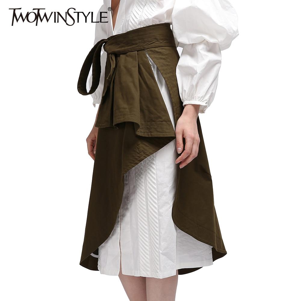 TWOTWINSTYLE Wrap Kadınlar Etekler Midi Fırfır Lace up Yüksek Bel - Bayan Giyimi - Fotoğraf 4