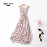 FAYE'S LOVE new spring / summer 100% real silk dress,V neck,sleeveless solid silk dress,F180023