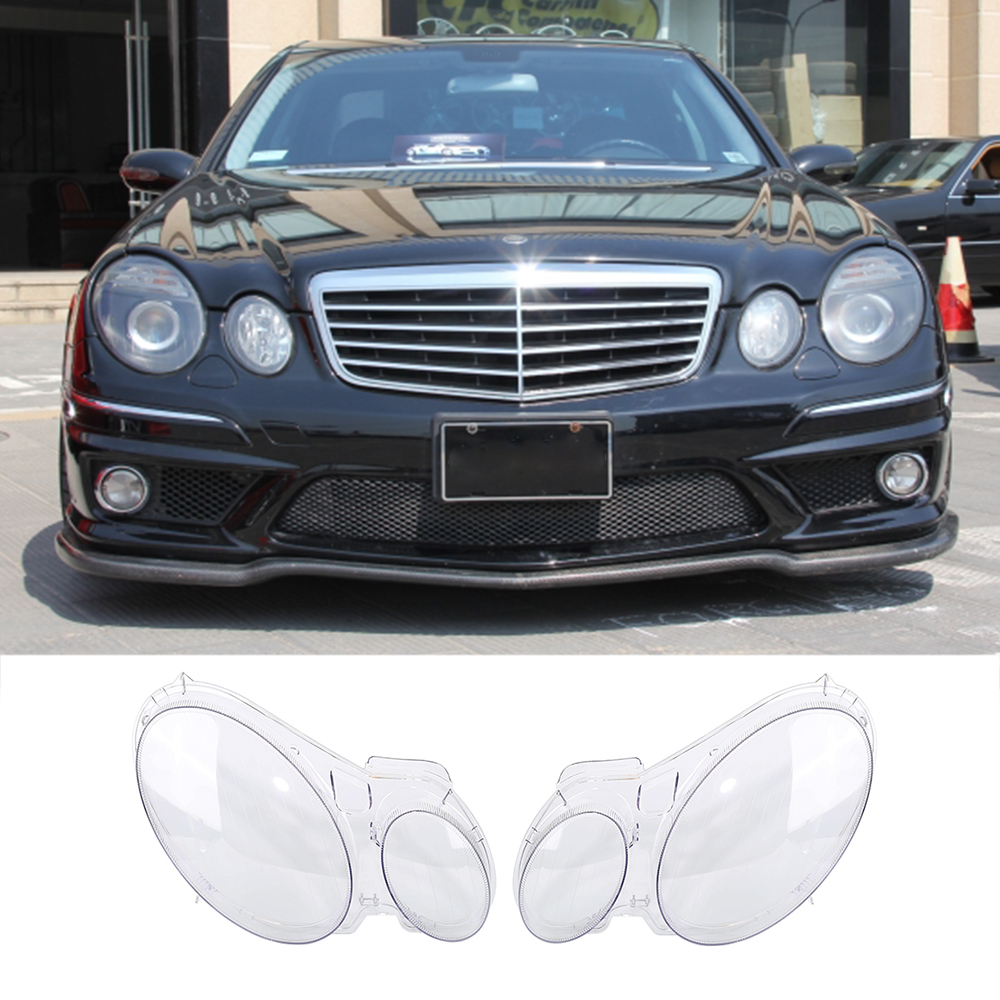 New 2 Pcs Transparent Housing Headlight Lens Shell Cover Lamp Assembly For Benz W211 E240 E200