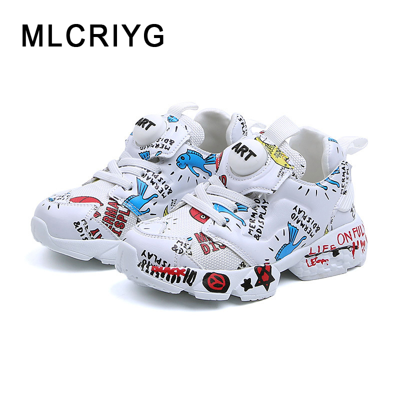 2019 Spring New Kids Pu Leather Shoes Baby Girls Sport Sneakers Children Mesh Shoes Boys Fashion Casual Shoes Soft Brand Trainer