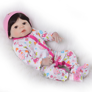 """Bebes reborn Full Body SIlicone Reborn baby girl Dolls toys for children gift 23""""57cm real baby new born doll alive"""