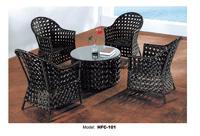 الفاخرة عالية الجودة الخوص pe الروطان الأثاث الأسود outdoor حديقة شرفة أثاث طاولة القهوة الشاي جالس 4 مسند ذراع كرسي مجموعة