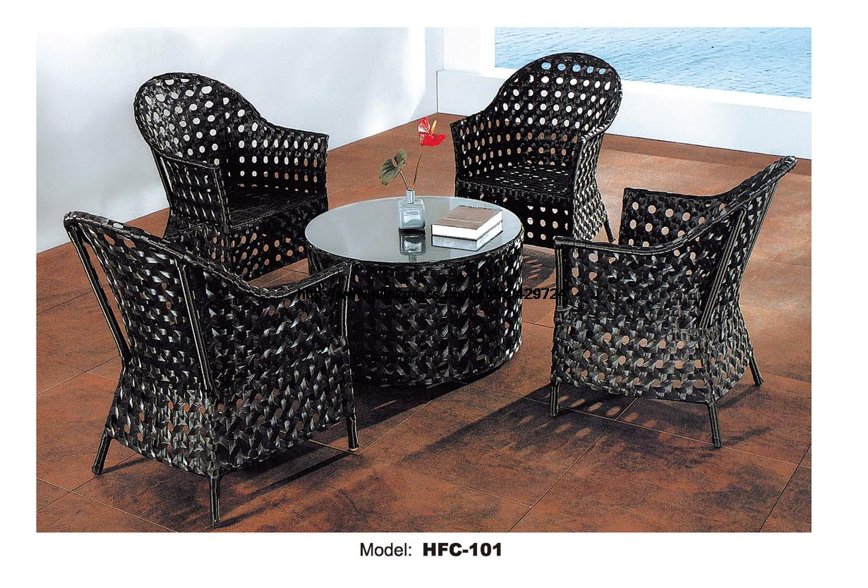 Luxury High Quality PE Rattan Furniture Black Wicker Outdoor Garden Balcony Furniture Galss Coffee Tea Table 4 Armrest Chair Set