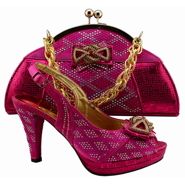 New Fashion 11cm P Toe Fuchsia Color Italian Shoes With Matching Bags Set For Wedding