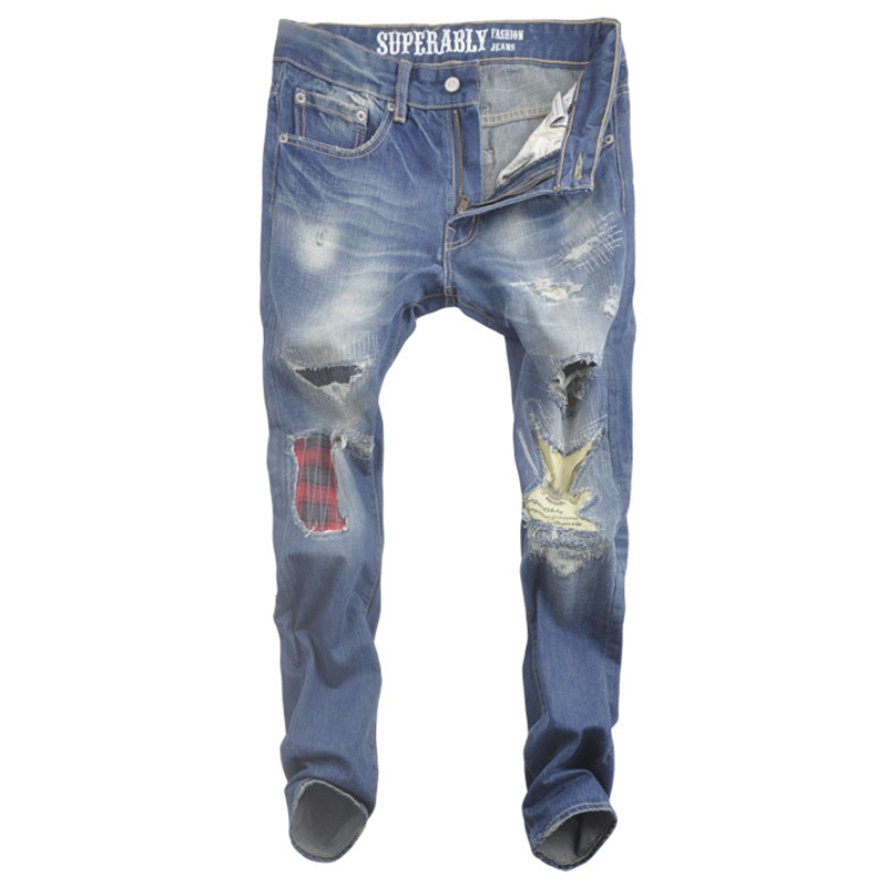 hot sale blue biker jeans men original brand superably jeans ripped with logo Slim Skinny denim mens patch jeans skull U365 2017 fashion mens patch jeans slim straight denim biker jeans trousers new brand superably jeans ripped dark jeans men u329