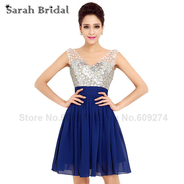 Cute Navy Blue Short Prom Dresses Cheap A Line Mini Beads V neck ...