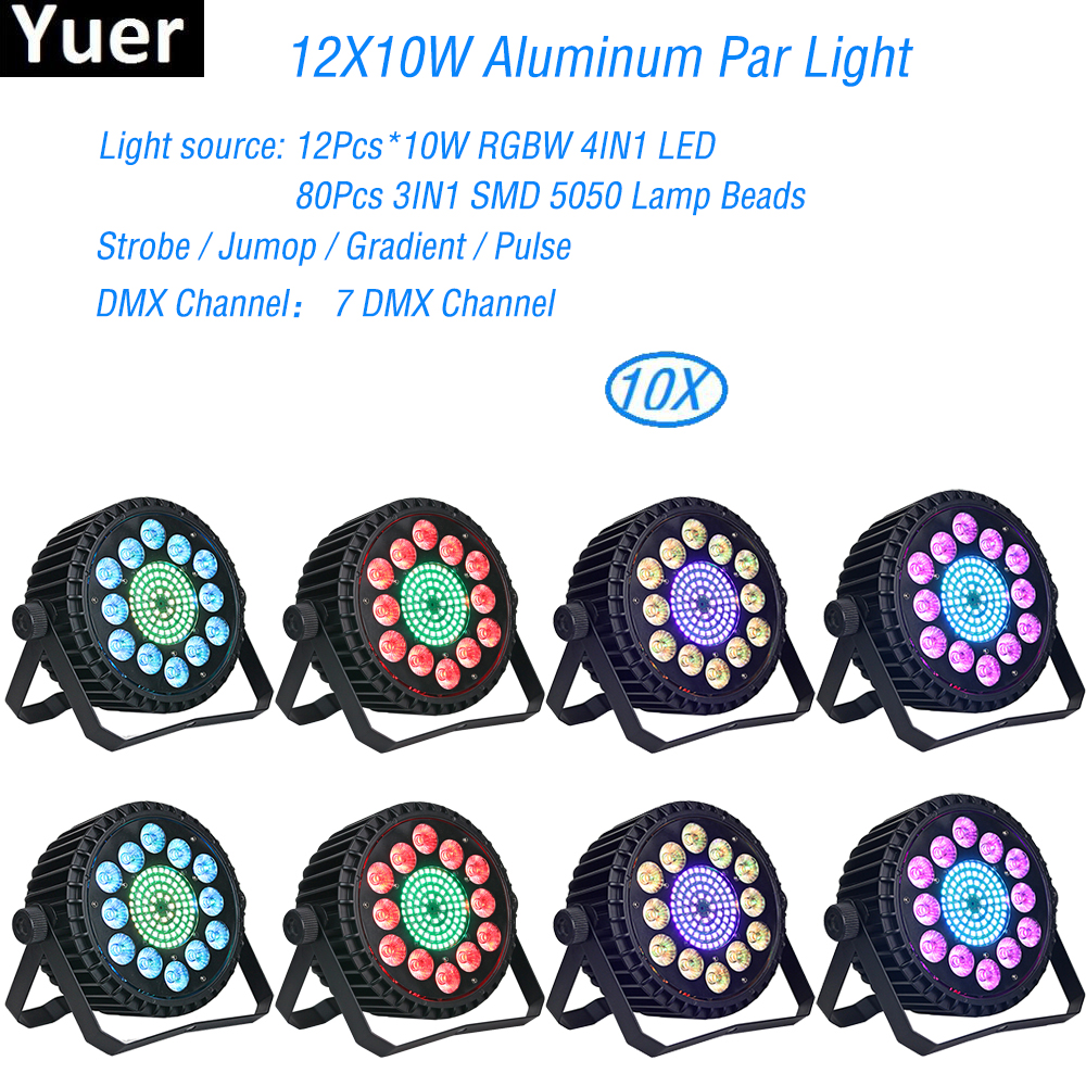 Aluminum Alloy LED Par 12x10W RGBW 4IN1 LED Lighting DMX512 Projector Floodlight Can Wash DJ Stage light Lighting Projector