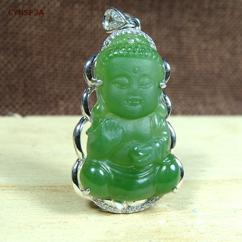 Certified Natural Hetian Jade Jasper Inlaid 925 Sterling Silver Buddha Jade Pendant Green High Quality Hand Carved Best Gifts in Charms from Jewelry Accessories