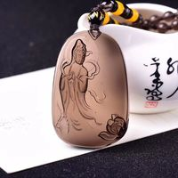 Wholesale Ice Black Natural Obsidian Pendant Caved Guanyin Buddha Pendant With Beads Sweater Chain Necklace Crystal Jewelry